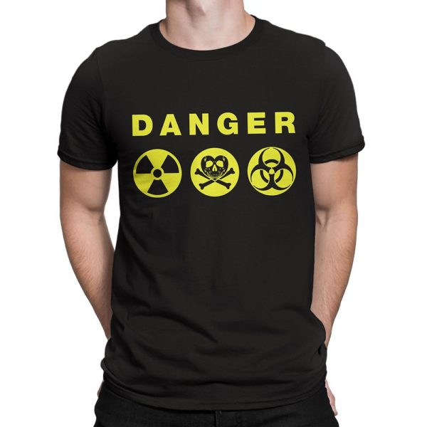 "Man wearing black Fear What You Wear t-shirt with hazard symbols and caption ""Danger"""
