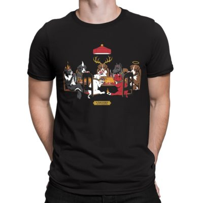 Man wearing black Fear What You Wear parody t-shirt depicting Devil Dogs Playing Poker