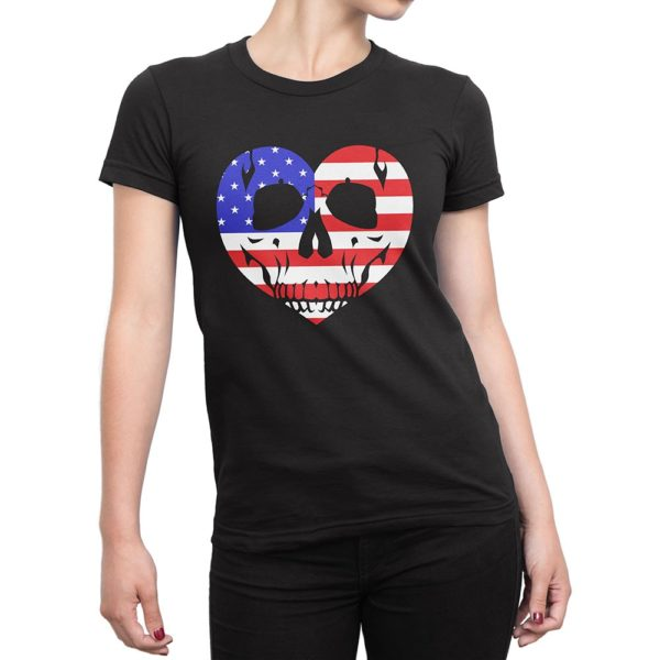 Woman wearing black Fear What You Wear t-shirt with red, white, blue heart skull