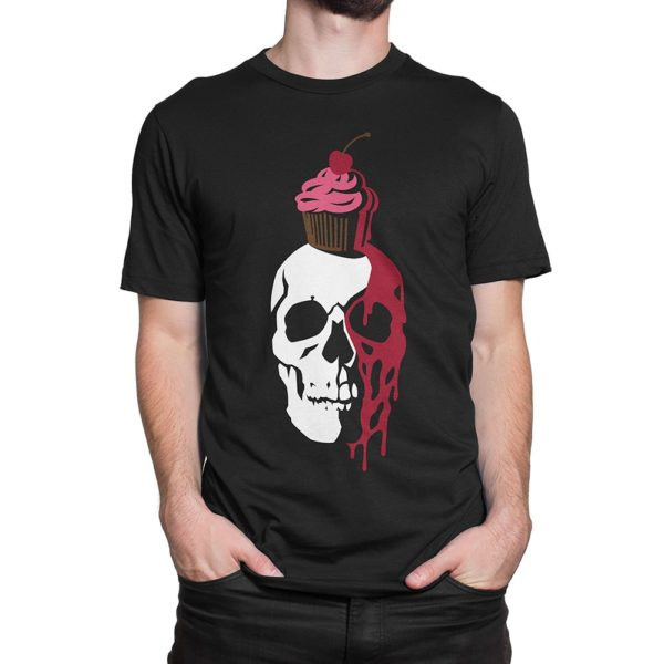 Fear What You Wear t-shirt depicting a shadowed skull wearing a cupcake with a cherry atop dripping juice that oozes down its face like blood. Designed by artist Bradley Beard.