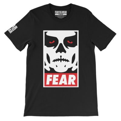 Fear What You Wear t-shirt depicting Obey parody with zombie face and caption FEAR