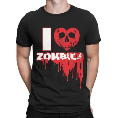 "Man wearing black Fear What You Wear t-shirt with heart skull and caption ""I Heart Zombies"""