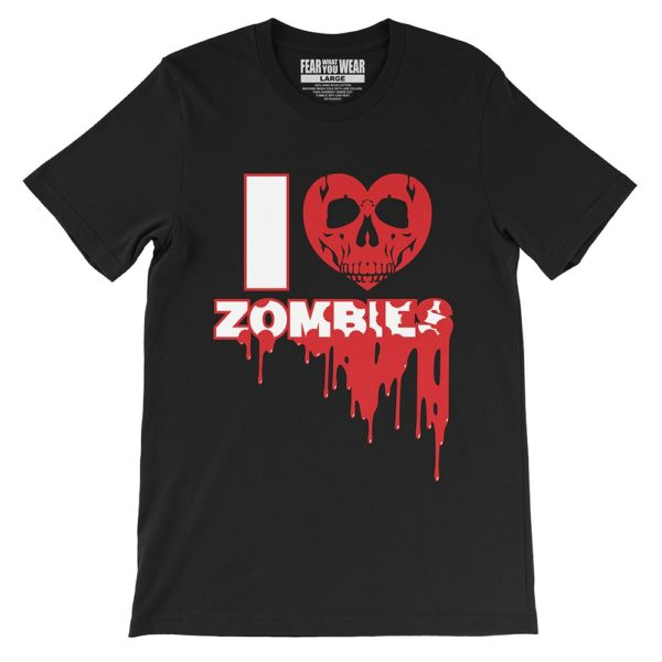 "Black Fear What You Wear t-shirt with heart skull and caption ""I Heart Zombies"""