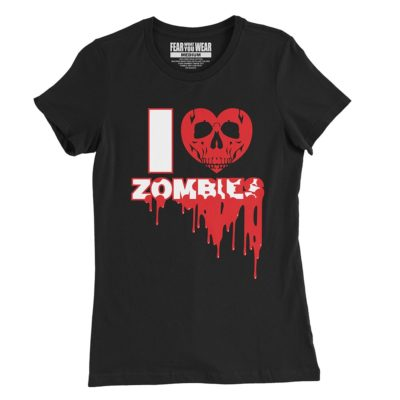 """Black Fear What You Wear t-shirt with heart skull and caption """"I Heart Zombies"""""""