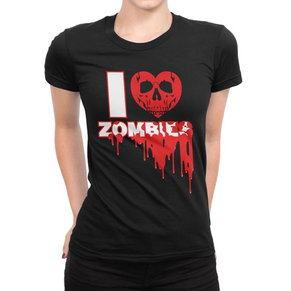 "Woman wearing black Fear What You Wear t-shirt with heart skull and caption ""I Heart Zombies"""