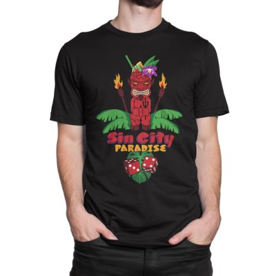 Man wearing black Fear What You Wear t-shirt depicting devil tiki cocktail, palm fronds, and dice